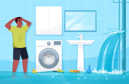 Man puzzled by broken water pipe flat vector illustration. Bathroom flood. Floating bath accessories and gels. Modern household items. Electric shock threat 2D cartoon character for commercial use