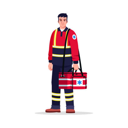 Paramedic semi flat RGB color vector illustration. Emergency medical technician. Male doctor. Chinese man working as EMT with medical bag isolated cartoon character on white background