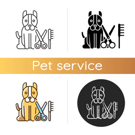 Dog grooming icon. Linear black and RGB color styles. Pet hair cutting, animal beauty treatment. Professional groomer service. Puppy, scissors and hair comb isolated vector illustrations