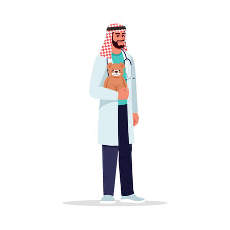 Male pediatrician semi flat RGB color vector illustration. Children care doctor. Medical personnel. Young arab man working as pediatrician isolated cartoon character on white background