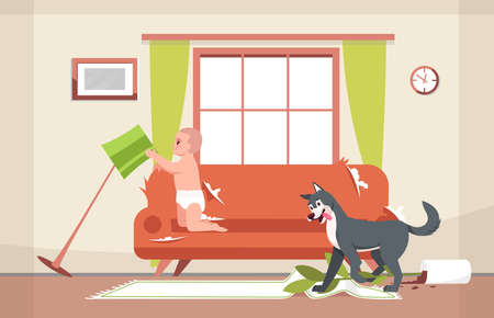 Naughty dog and curious toddler semi flat vector illustration. Messy living room. Shabby sofa. Fallen vase with flower, soiled carpet. Broken floor lamp 2D cartoon character for commercial use