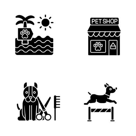 Pet industry black glyph icons set on white space. Dog beach, petshop, professional grooming salon and training center silhouette symbols. Domestic animals care business. Vector isolated illustrations