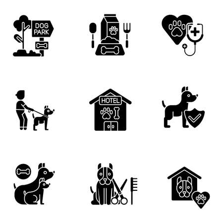 Animal care business black glyph icons set on white space. Professional assistance for pet owners. Dog healthcare, nutrition and daycare services silhouette symbols. Vector isolated illustrations