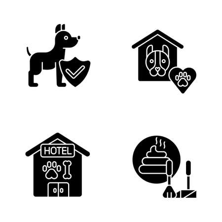 Animal welfare black glyph icons set on white space. Dog hotel, animal shelter, poop scooping and life insurance silhouette symbols. Different services for pet owners. Vector isolated illustrations
