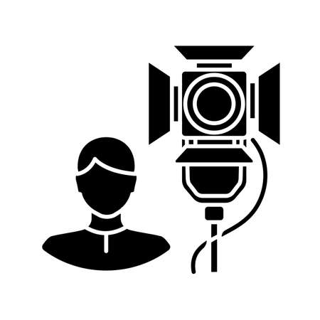 Lighting technician black glyph icon. Professional worker for electrical equipment. Stage spotlight coordination. Broadcasting live. Silhouette symbol on white space. Vector isolated illustration Vector Illustration