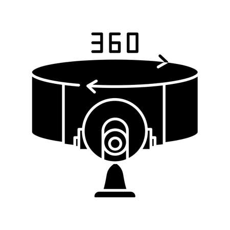 VR camera black glyph icon. 360 degree observation angle. Innovative panoramic shot with device. Electronics for cinematography. Silhouette symbol on white space. Vector isolated illustration