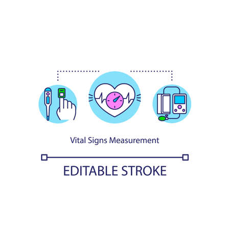 Vital signs measurement concept icon. Health condition exam idea thin line illustration. Heart rate, blood pressure and sugar level check. Vector isolated outline RGB color drawing. Editable stroke
