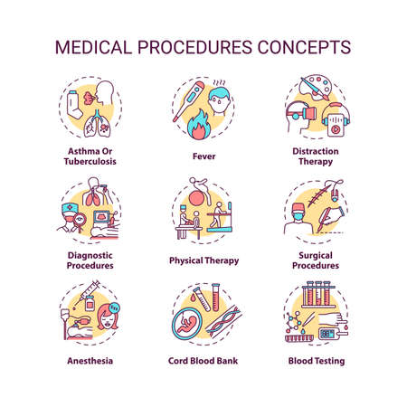 Medical procedures concept icons set. Professional healthcare. Diseases diagnostics and treatment services idea thin line RGB color illustrations. Vector isolated outline drawings. Editable stroke