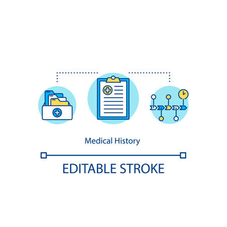 Medical history concept icon. Patients previous disease and prescription records idea thin line illustration. Health insurance policy. Vector isolated outline RGB color drawing. Editable stroke