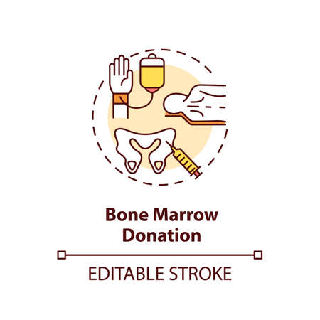 Bone marrow donation concept icon. Medical charity, stem cells treatment idea thin line illustration. Bone tissue extraction procedure. Vector isolated outline RGB color drawing. Editable stroke