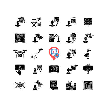 Film making process and staff black glyph icons set on white space. Art director. AI written screenplay. Hollywood actor. Theatrical props. Silhouette symbols. Vector isolated illustration Ilustración de vector