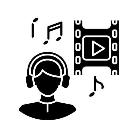 Music supervisor black glyph icon. Producer for audio making. Listen to song. Composer for movie soundtrack. Sound in headphones. Silhouette symbol on white space. Vector isolated illustration