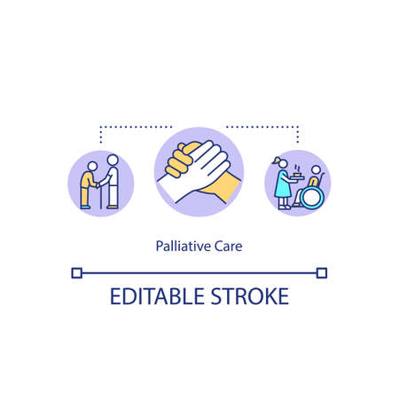 Palliative care concept icon. Healthcare service, medical caregiving idea thin line illustration. Nursing elderly and disabled patients. Vector isolated outline RGB color drawing. Editable stroke