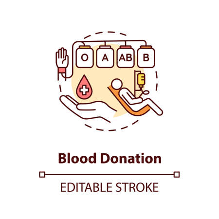 Blood donation concept icon. Voluntary medical procedure, transfusion. Donating blood for charity purpose idea thin line illustration. Vector isolated outline RGB color drawing. Editable stroke