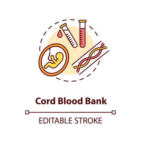 Cord blood bank concept icon. Medical donation idea thin line illustration. Healthcare service. Storage facility for umbilical cord blood. Vector isolated outline RGB color drawing. Editable stroke