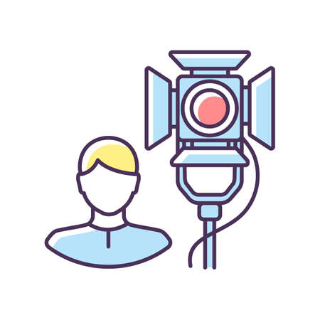Lighting technician RGB color icon. Professional worker for electrical equipment. Stage spotlight coordination. Broadcasting live. Record action on television. Isolated vector illustration