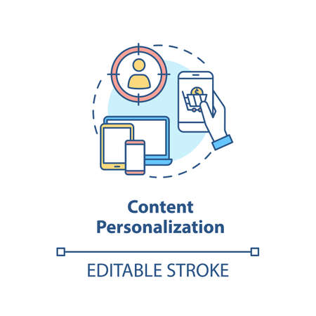 Content personalization concept icon. Digital marketing campaign idea thin line illustration. Customization. Targeting process. Vector isolated outline RGB color drawing. Editable stroke