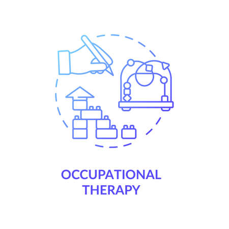 Occupational therapy concept icon. Mental diseases therapeutic treatment, injury recovery idea thin line illustration. Medical procedure. Vector isolated outline RGB color drawing