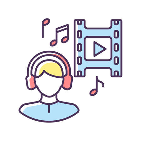 Music supervisor RGB color icon. Producer for audio making. Listen to song in headset. Composer for movie soundtrack. Sound in headphones. Record and melody playing. Isolated vector illustration