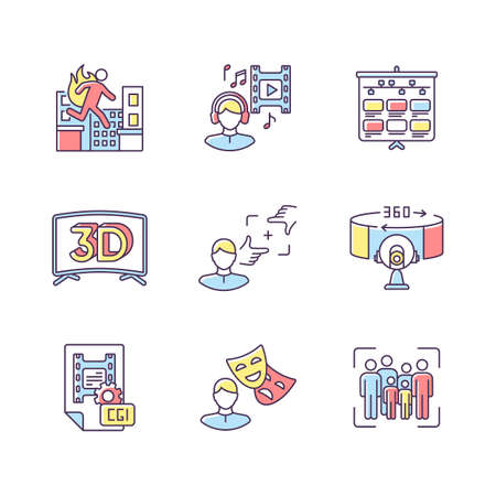 Film making RGB color icons set. Visual development for movie. Special effect for cinematography and animation. Theater actor. 3D television. Stuntman for film. Isolated vector illustrations
