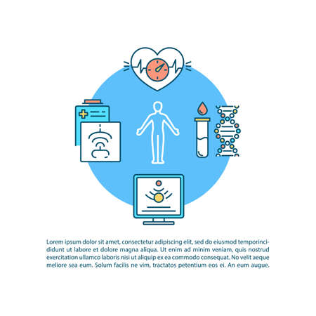 Laboratory analysis concept icon with text. Nonsurgical checkup, ultrasound scan and blood testing. PPT page vector template. Brochure, magazine, booklet design element with linear illustrations Illustration