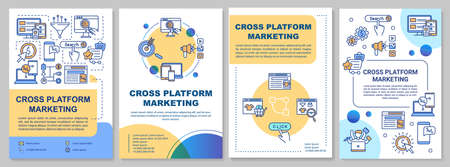 Cross platform marketing brochure template. Advertising strategy. Flyer, booklet, leaflet print, cover design with linear icons. Vector layouts for magazines, annual reports, advertising posters