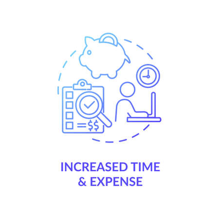 Increased time and expense concept icon. Niche marketing research idea thin line illustration. Time management. Advertising cost. Content marketing time. Vector isolated outline RGB color drawing