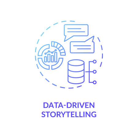 Data-driven storytelling concept icon. Increase target audience engagement idea thin line illustration. Niche marketing. Customer goals identification. Vector isolated outline RGB color drawing Vettoriali
