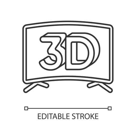 3D television linear icon. Three dimensional visual effect. Plasma TV screen for entertainment. Thin line customizable illustration. Contour symbol. Vector isolated outline drawing. Editable stroke