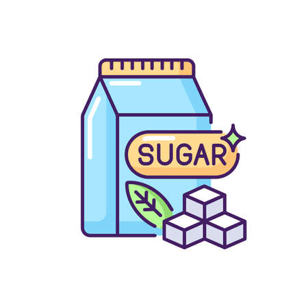 Sugars RGB color icon. Crystal cubes. Refined powder in packaging. Supermarket product. Condiment ingredient. Saturated fat for bad dietary. Sweetener in food. Isolated vector illustration Vectores