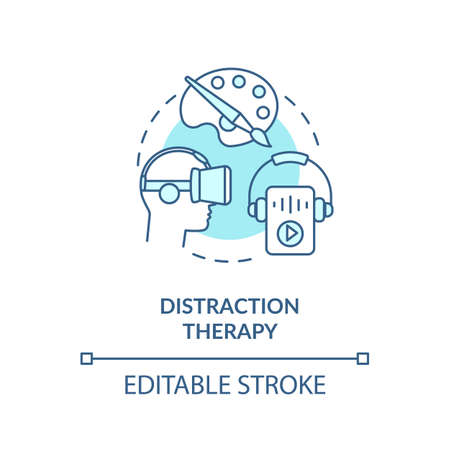 Distraction therapy concept icon. Complementary medicine, therapeutic procedures idea thin line illustration. Alternative therapy. Vector isolated outline RGB color drawing. Editable stroke