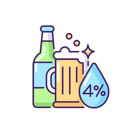 Alcohol RGB color icon. Beverage in bottle. Spirit with alcoholic percent. Beer glass. Drink in mug. Pub menu. Bar product. Whiskey and vodka. Unhealthy food. Isolated vector illustration Vektorgrafik