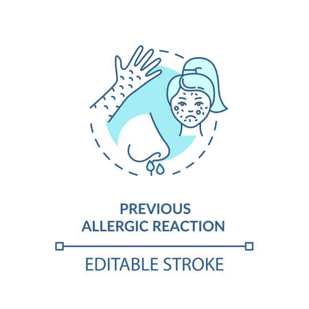 Previous allergic reactions concept icon. Vaccination precautions and side effects idea thin line illustration. Seasonal allergy symptoms. Vector isolated outline RGB color drawing. Editable stroke