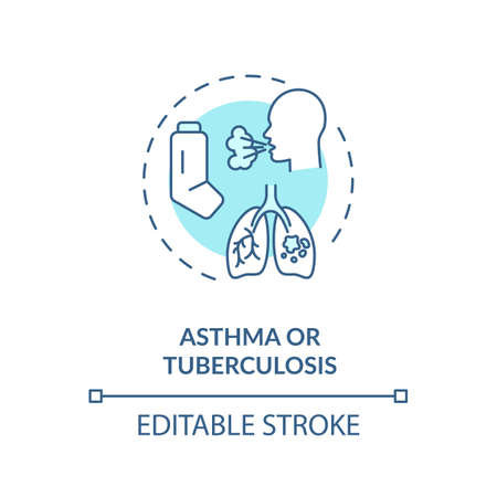 Asthma and tuberculosis concept icon. Chronic respiratory disease idea thin line illustration. Asthmatic bronchitis symptoms and treatment. Vector isolated outline RGB color drawing. Editable stroke