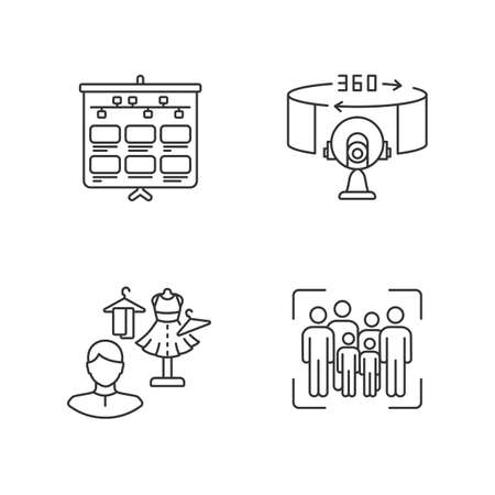 Film making jobs linear icons set. Storyboarding for television. Flow of frames on board. Customizable thin line contour symbols. Isolated vector outline illustrations. Editable stroke