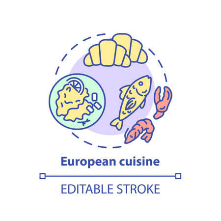 European cuisine concept icon. Famous meal from europe. Traditional ethnic menu. Delicious national food idea thin line illustration. Vector isolated outline RGB color drawing. Editable stroke