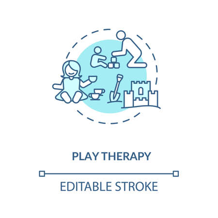 Play therapy concept icon. Fun games for mentally disabled children. Kid friendly treatment, pediatrics idea thin line illustration. Vector isolated outline RGB color drawing. Editable stroke
