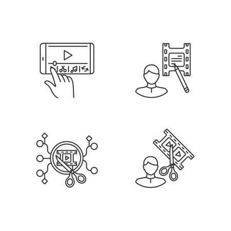 Movie making linear icons set. Mobile phone editing. Film making software on smartphone. Customizable thin line contour symbols. Isolated vector outline illustrations. Editable stroke