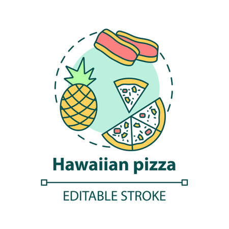 Hawaiian pizza concept icon. Sweet fresh pizzeria ingredients. Fruity tasty meals. Unusual meal idea thin line illustration. Vector isolated outline RGB color drawing. Editable stroke