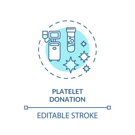 Platelet donation concept icon. Medical charity, voluntary blood transfusion idea thin line illustration. Donating thrombocytes. Vector isolated outline RGB color drawing. Editable stroke Иллюстрация