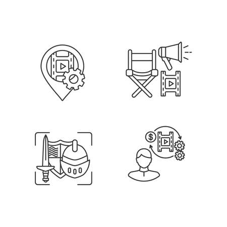 Film production process linear icons set. Location for movie shooting. GPS pointer for navigation. Customizable thin line contour symbols. Isolated vector outline illustrations. Editable stroke