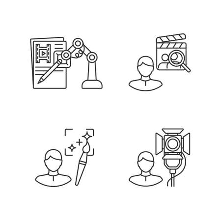 Movie production linear icons set. AI written screenplay. Casting director hire actors. Customizable thin line contour symbols. Isolated vector outline illustrations. Editable stroke Иллюстрация
