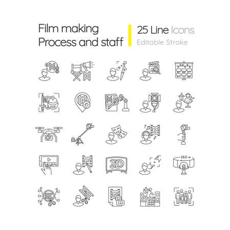 Film making process and staff linear icons set. Art director. AI written screenplay. Hollywood actor. Customizable thin line contour symbols. Isolated vector outline illustrations. Editable stroke