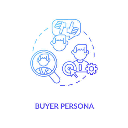 Buyer persona concept icon. Target market idea thin line illustration. Social media audience research. Customer goals identification. Niche market. Vector isolated outline RGB color drawing