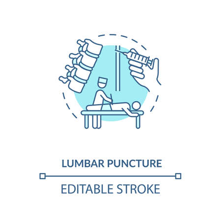 Lumbar puncture concept icon. Central nervous system diseases diagnostics idea thin line illustration. Clinical procedure, spinal tap. Vector isolated outline RGB color drawing. Editable stroke