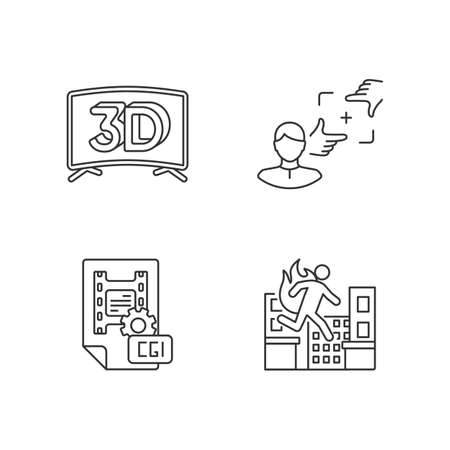 Film production linear icons set. 3D television. CGI for animation. Professional stuntman. Customizable thin line contour symbols. Isolated vector outline illustrations. Editable stroke