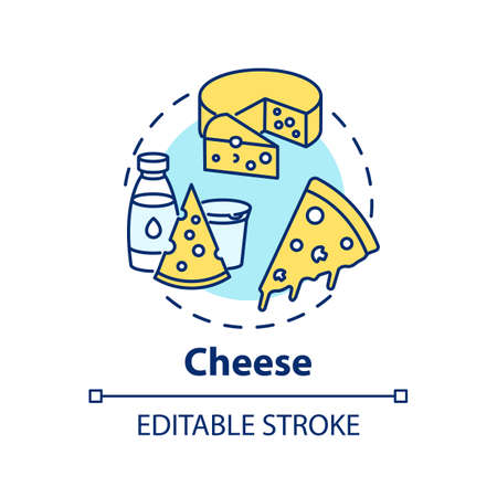 Cheese concept icon. Delicious meal ingredients. Fresh dairy products. Different types of cheese. Groceries idea thin line illustration. Vector isolated outline RGB color drawing. Editable stroke