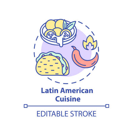Latin American cuisine concept icon. Traditional meals. National menu with spicy ingredients. Variety of dishes idea thin line illustration. Vector isolated outline RGB color drawing. Editable stroke