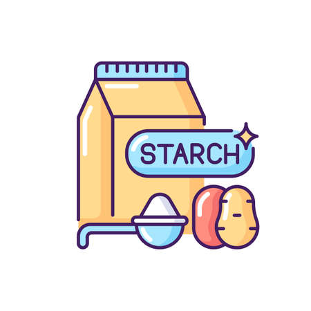 Starch RGB color icon. Nutrient products. Lunch preparation. Ingredient for baking. Potato powder in package. Grocery foodstuff. Sodium for cookery. Healthy eating. Isolated vector illustration