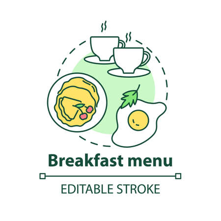 Breakfast menu concept icon. Morning tasty food offers. Limited lite meals. Day starters menu idea thin line illustration. Vector isolated outline RGB color drawing. Editable stroke